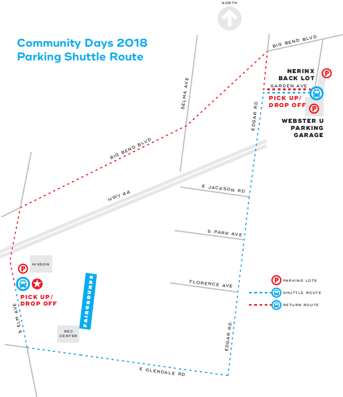 Webster Groves Community Days Carnival Parking Map